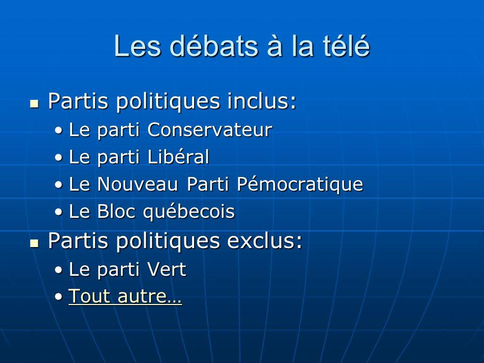 Les débats à la télé  Partis politiques inclus: •Le parti Conservateur •Le parti Libéral •Le Nouveau Parti Pémocratique •Le Bloc québecois  Partis p