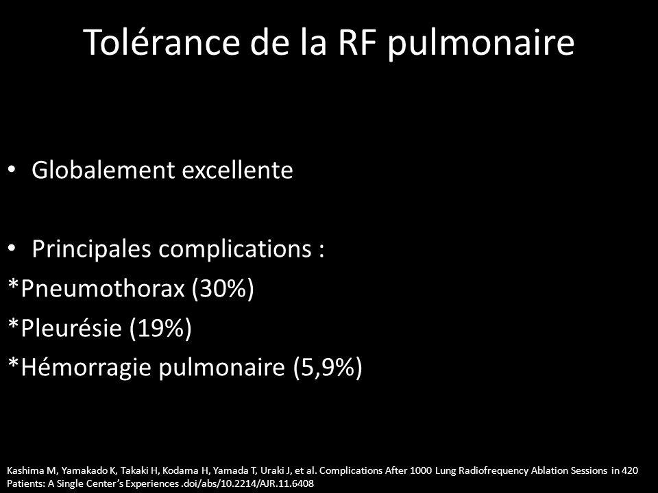 Tolérance de la RF pulmonaire • Globalement excellente • Principales complications : *Pneumothorax (30%) *Pleurésie (19%) *Hémorragie pulmonaire (5,9%