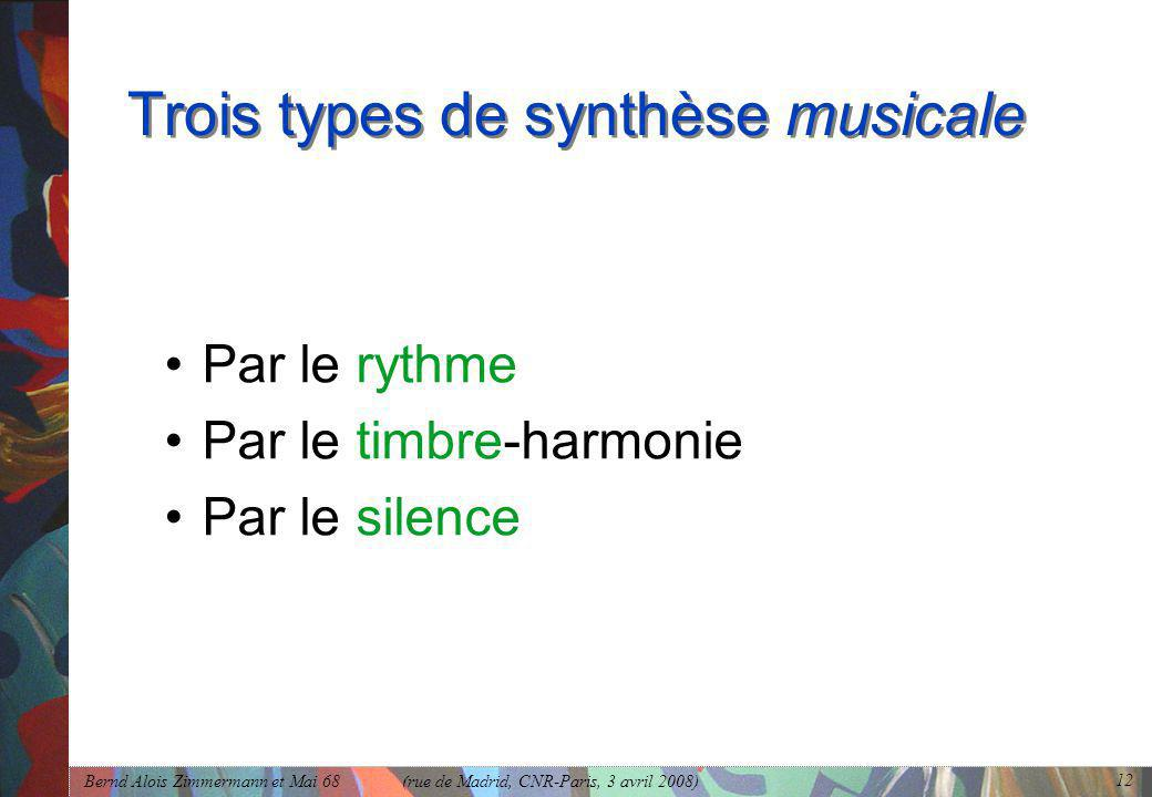 Bernd Alois Zimmermann et Mai 68 (rue de Madrid, CNR-Paris, 3 avril 2008) 12 Trois types de synthèse musicale •Par le rythme •Par le timbre-harmonie •