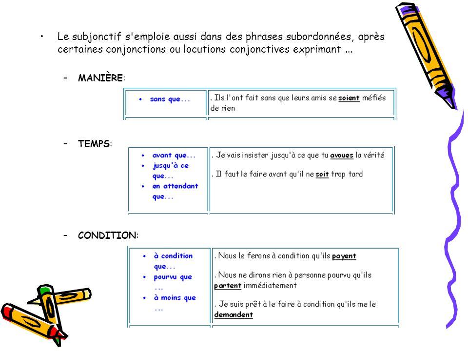 •Le subjonctif s'emploie aussi dans des phrases subordonnées, après certaines conjonctions ou locutions conjonctives exprimant... –MANIÈRE: –TEMPS: –C