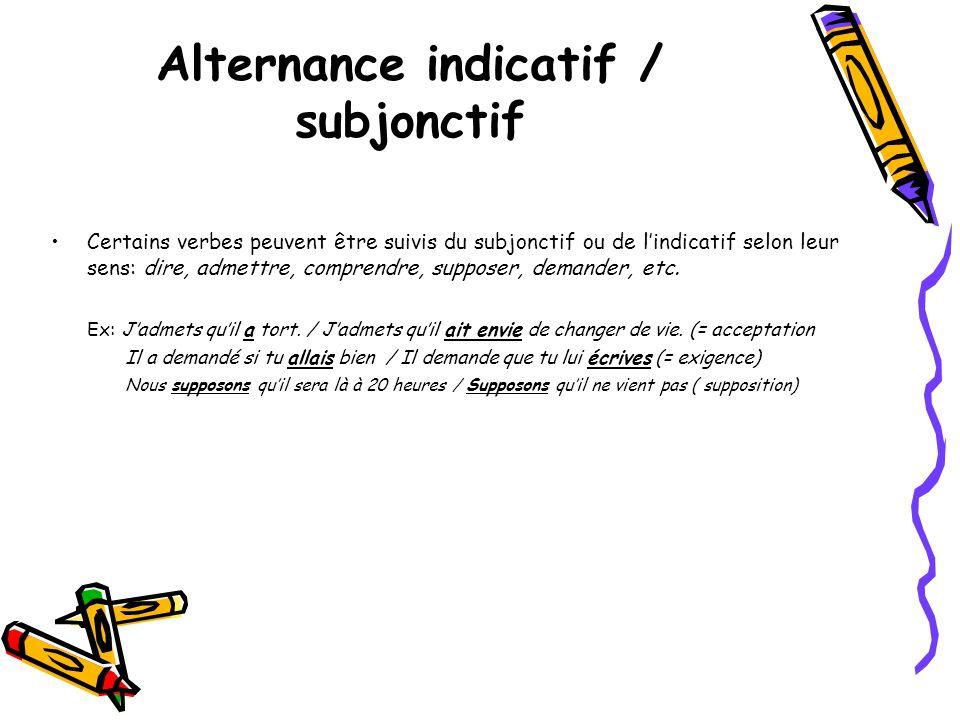 •Certains verbes peuvent être suivis du subjonctif ou de l'indicatif selon leur sens: dire, admettre, comprendre, supposer, demander, etc. Ex: J'admet