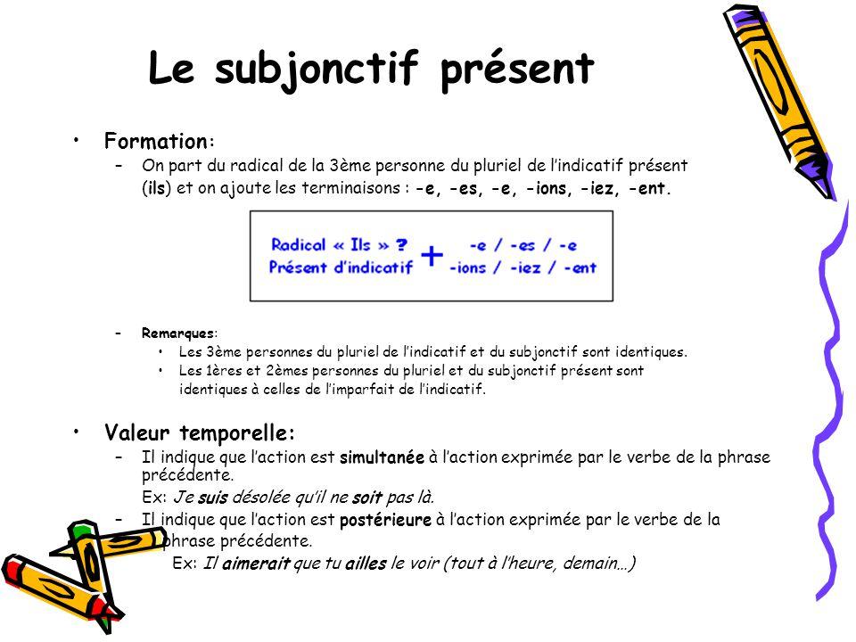 Le subjonctif présent •Formation : –On part du radical de la 3ème personne du pluriel de l'indicatif présent (ils) et on ajoute les terminaisons : -e,