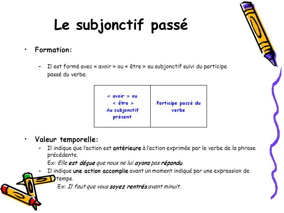 Le subjonctif passé •Formation: –Il est formé avec « avoir » ou « être » au subjonctif suivi du participe passé du verbe. •Valeur temporelle: –Il indi
