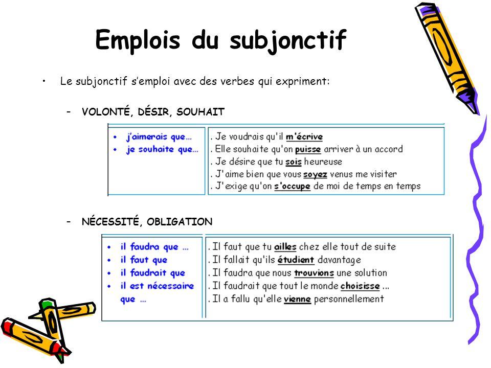 Emplois du subjonctif •Le subjonctif s'emploi avec des verbes qui expriment: –VOLONTÉ, DÉSIR, SOUHAIT –NÉCESSITÉ, OBLIGATION