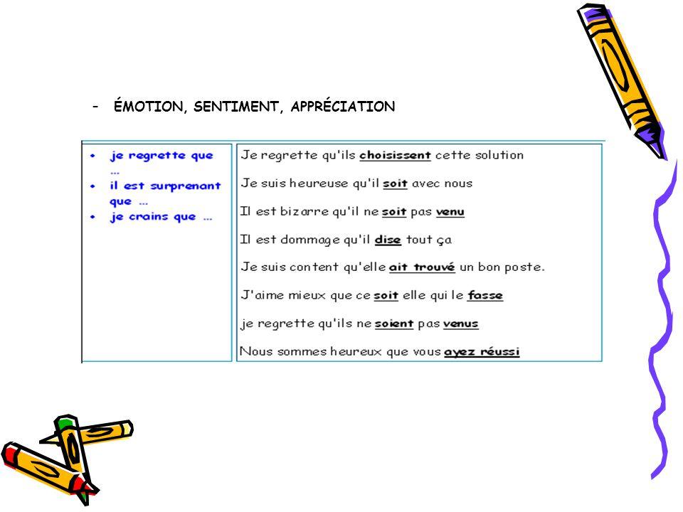 –ÉMOTION, SENTIMENT, APPRÉCIATION