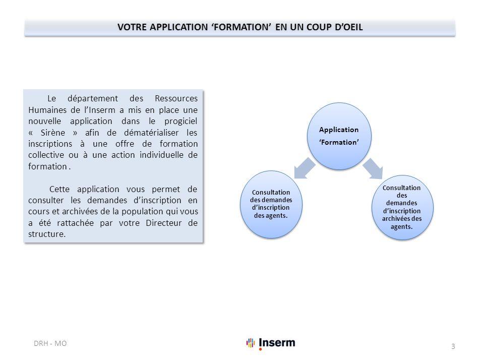 Application 'Formation' Consultation des demandes d'inscription des agents. Consultation des demandes d'inscription archivées des agents. VOTRE APPLIC