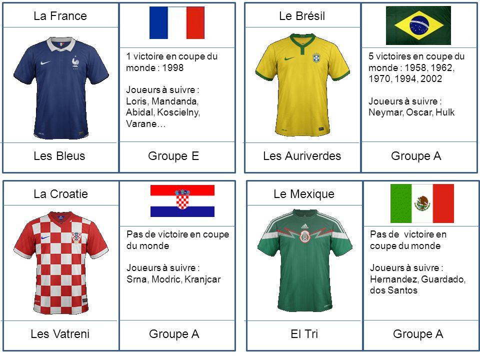 La France Les Bleus 1 victoire en coupe du monde : 1998 Joueurs à suivre : Loris, Mandanda, Abidal, Koscielny, Varane… Groupe E Le Brésil Les Auriverd