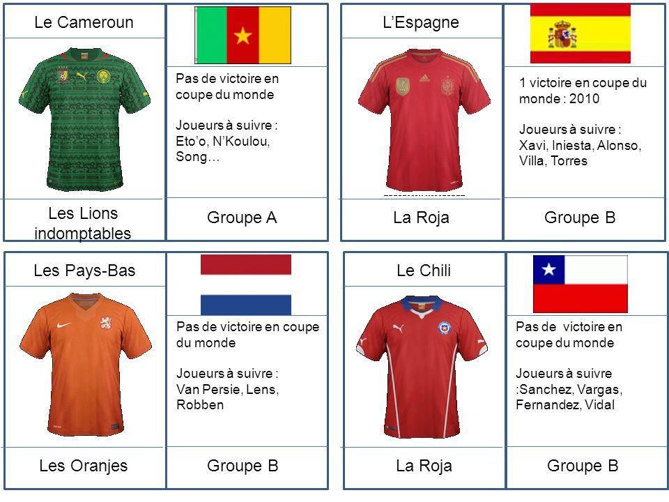 Le Cameroun Les Lions indomptables Pas de victoire en coupe du monde Joueurs à suivre : Eto'o, N'Koulou, Song… Groupe A L'Espagne La Roja 1 victoire e