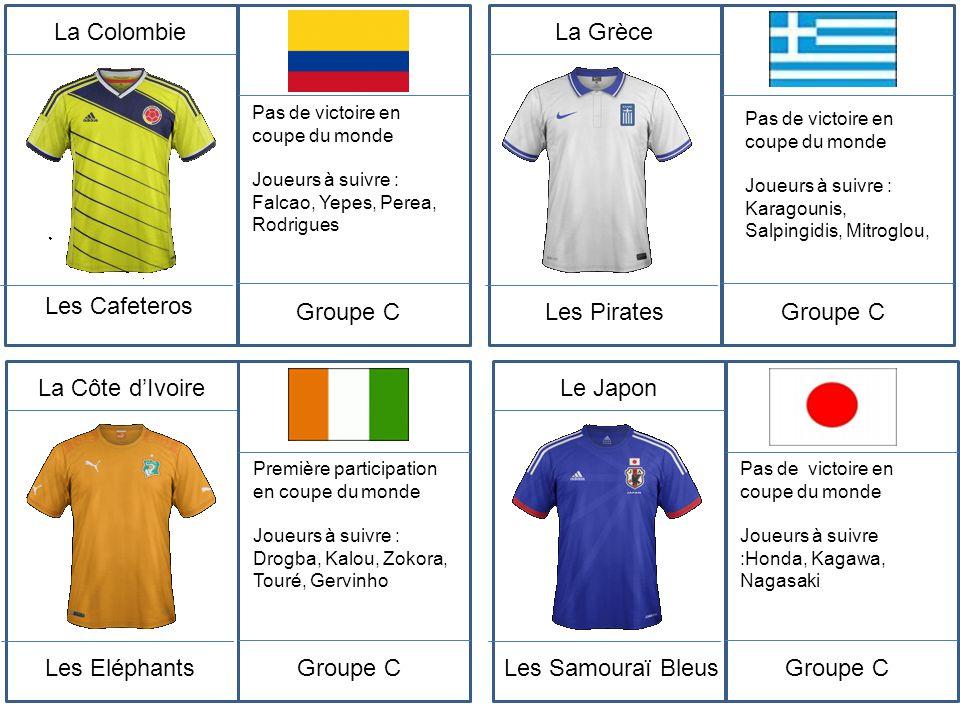 La Colombie Les Cafeteros Pas de victoire en coupe du monde Joueurs à suivre : Falcao, Yepes, Perea, Rodrigues Groupe C La Grèce Les Pirates Pas de vi