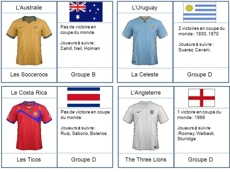 L'Australie Les Socceroos Pas de victoire en coupe du monde Joueurs à suivre : Cahill, Neil, Holman Groupe B L'Uruguay La Celeste 2 victoires en coupe