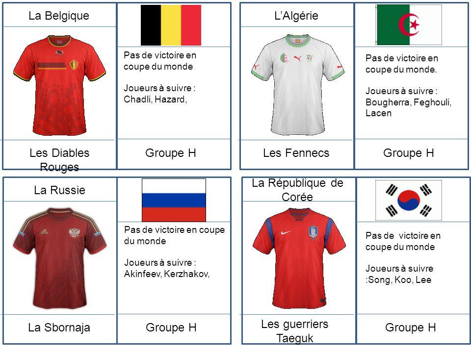 La Belgique Les Diables Rouges Pas de victoire en coupe du monde Joueurs à suivre : Chadli, Hazard, Groupe H L'Algérie Les Fennecs Pas de victoire en