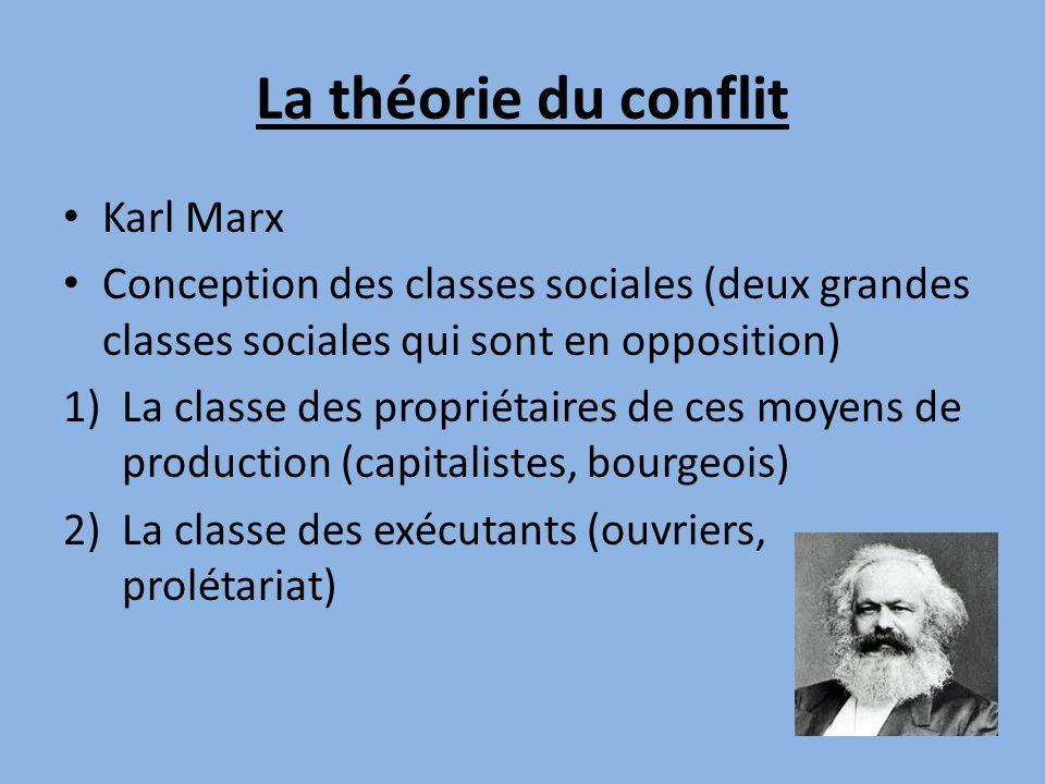 La théorie du conflit • Karl Marx • Conception des classes sociales (deux grandes classes sociales qui sont en opposition) 1)La classe des propriétaires de ces moyens de production (capitalistes, bourgeois) 2)La classe des exécutants (ouvriers, prolétariat)