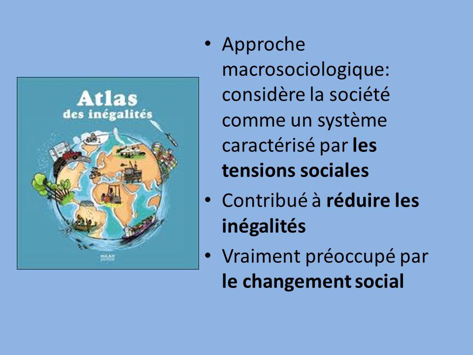 • Approche macrosociologique: considère la société comme un système caractérisé par les tensions sociales • Contribué à réduire les inégalités • Vraiment préoccupé par le changement social