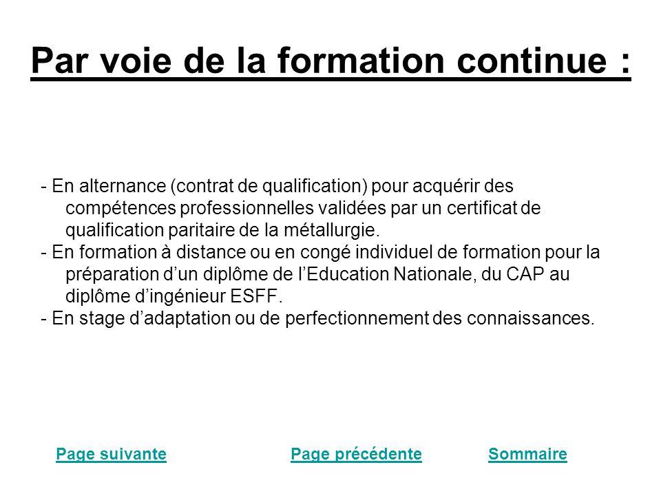 Par voie de la formation continue : - En alternance (contrat de qualification) pour acquérir des compétences professionnelles validées par un certificat de qualification paritaire de la métallurgie.