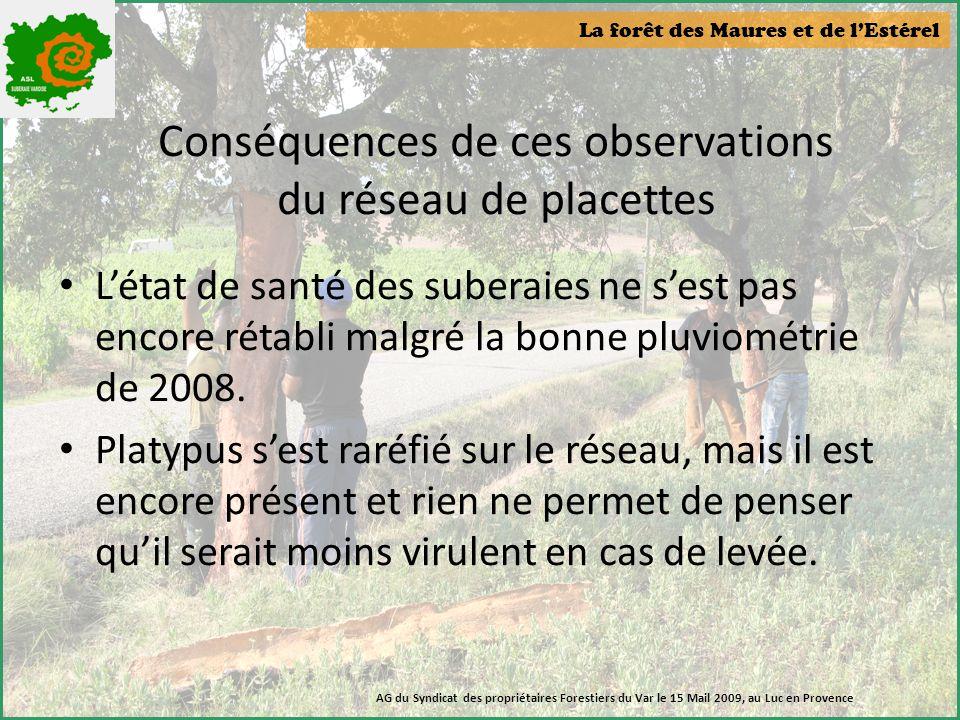 La forêt des Maures et de l'Estérel AG du Syndicat des propriétaires Forestiers du Var le 15 Mail 2009, au Luc en Provence Conséquences de ces observa