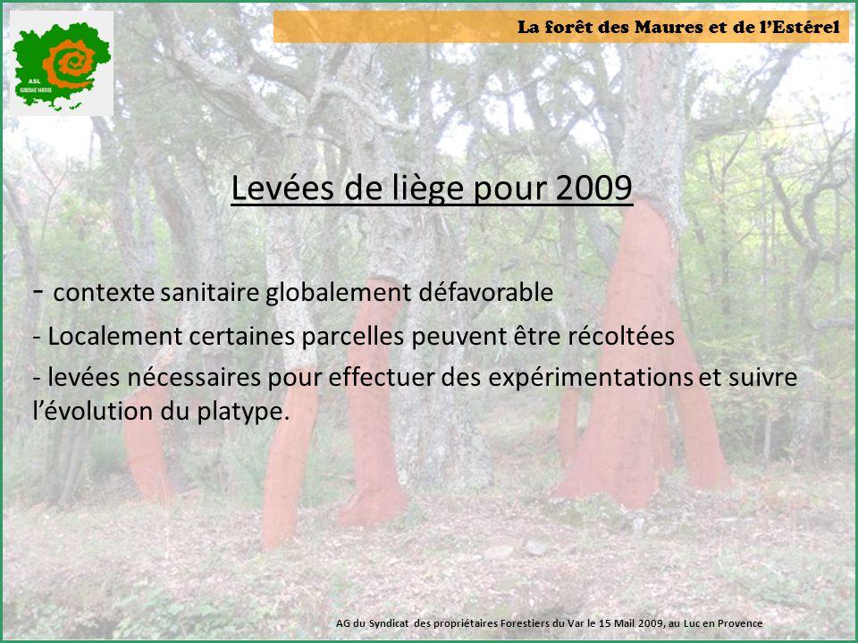La forêt des Maures et de l'Estérel Levées de liège pour 2009 - contexte sanitaire globalement défavorable - Localement certaines parcelles peuvent êt