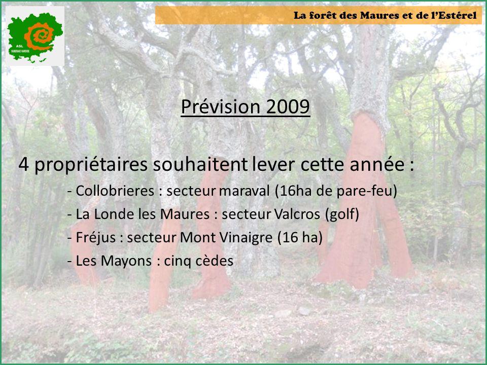 La forêt des Maures et de l'Estérel Prévision 2009 4 propriétaires souhaitent lever cette année : - Collobrieres : secteur maraval (16ha de pare-feu)
