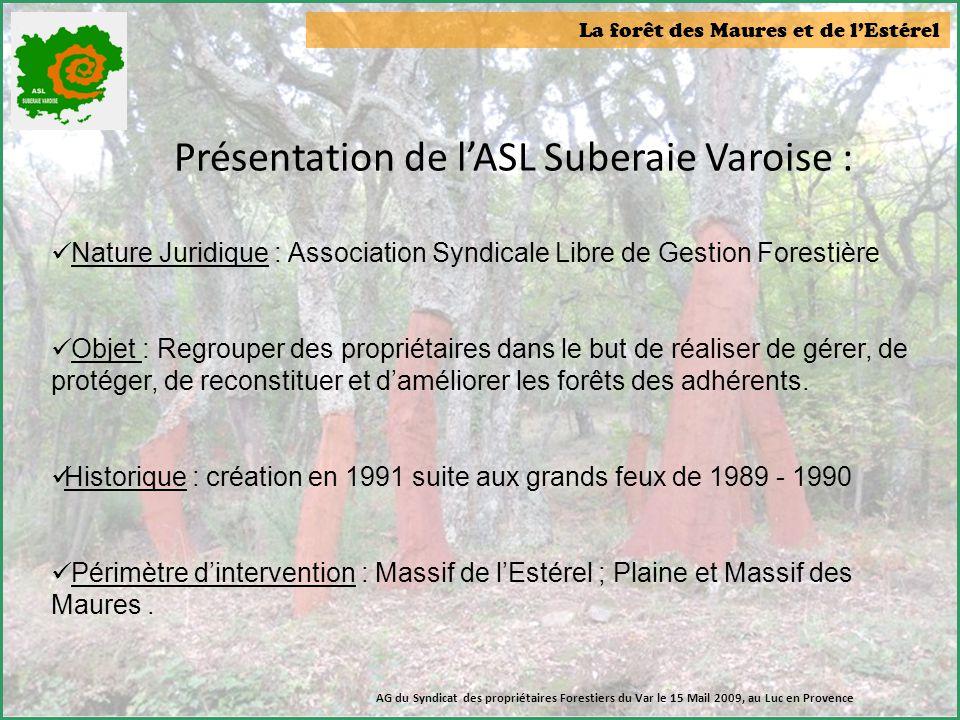 La forêt des Maures et de l'Estérel Présentation de l'ASL Suberaie Varoise :  Nature Juridique : Association Syndicale Libre de Gestion Forestière 