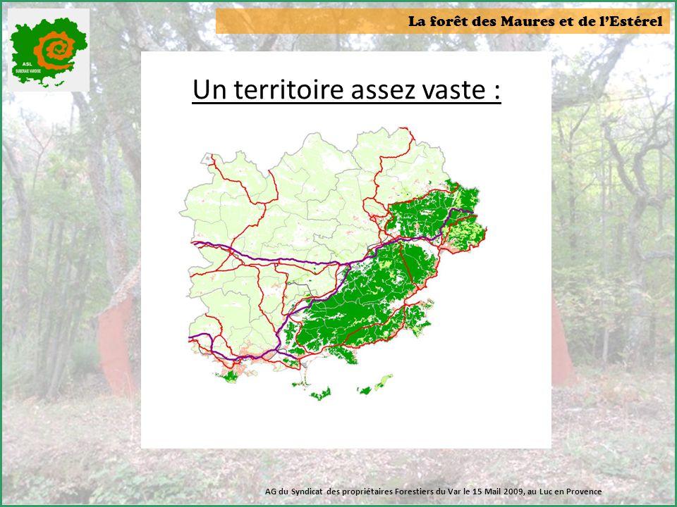 La forêt des Maures et de l'Estérel Quelques données :  Nombre d'adhérents : 162 propriétaires forestiers  Surface forestière : 7 500 ha  Documents de gestion durable : 53 PSG et environ 30 CBPS AG du Syndicat des propriétaires Forestiers du Var le 15 Mail 2009, au Luc en Provence