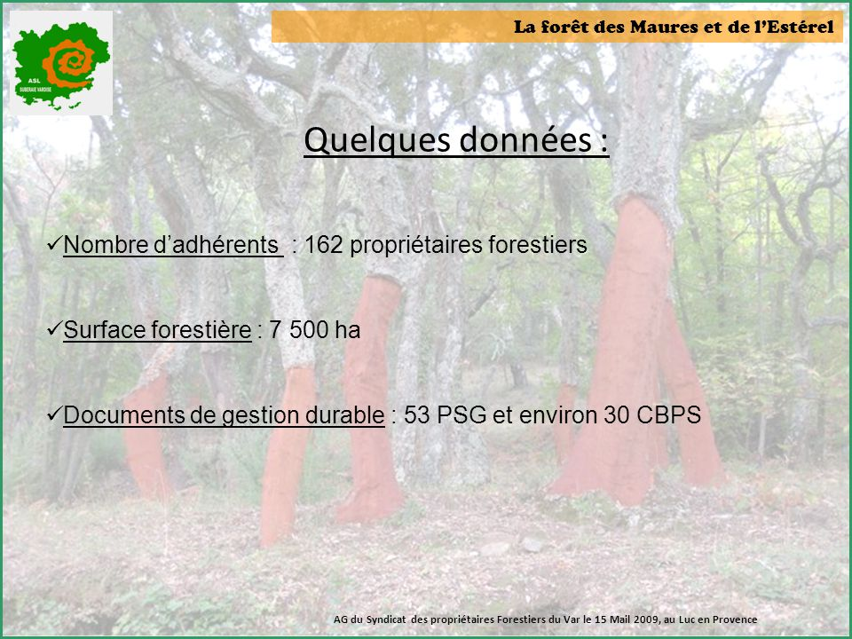 La forêt des Maures et de l'Estérel Quelques données :  Nombre d'adhérents : 162 propriétaires forestiers  Surface forestière : 7 500 ha  Documents