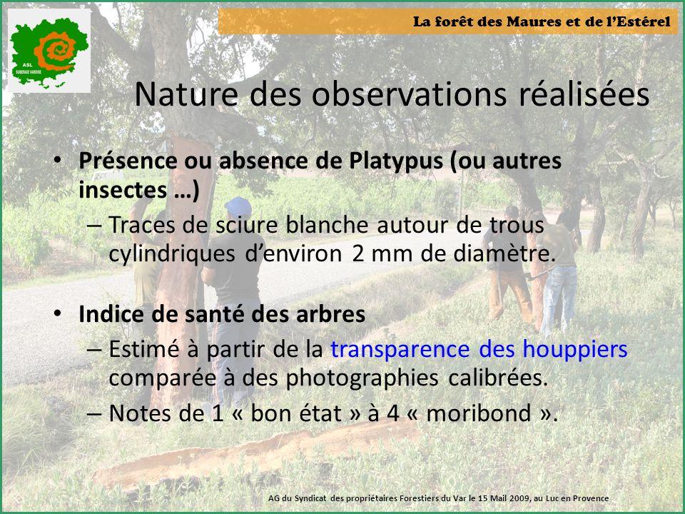 La forêt des Maures et de l'Estérel AG du Syndicat des propriétaires Forestiers du Var le 15 Mail 2009, au Luc en Provence Nature des observations réa
