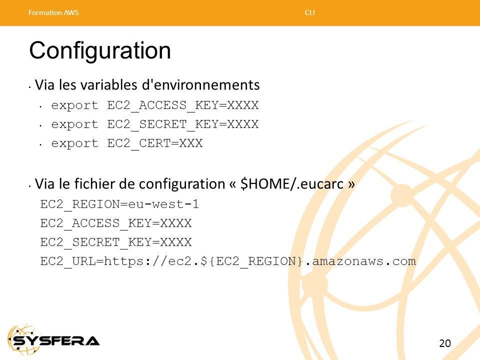 Configuration • Via les variables d'environnements • export EC2_ACCESS_KEY=XXXX • export EC2_SECRET_KEY=XXXX • export EC2_CERT=XXX • Via le fichier de