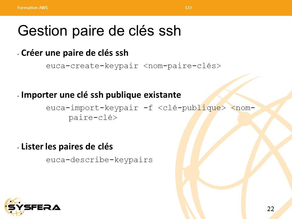 Gestion paire de clés ssh • Créer une paire de clés ssh euca-create-keypair • Importer une clé ssh publique existante euca-import-keypair -f • Lister