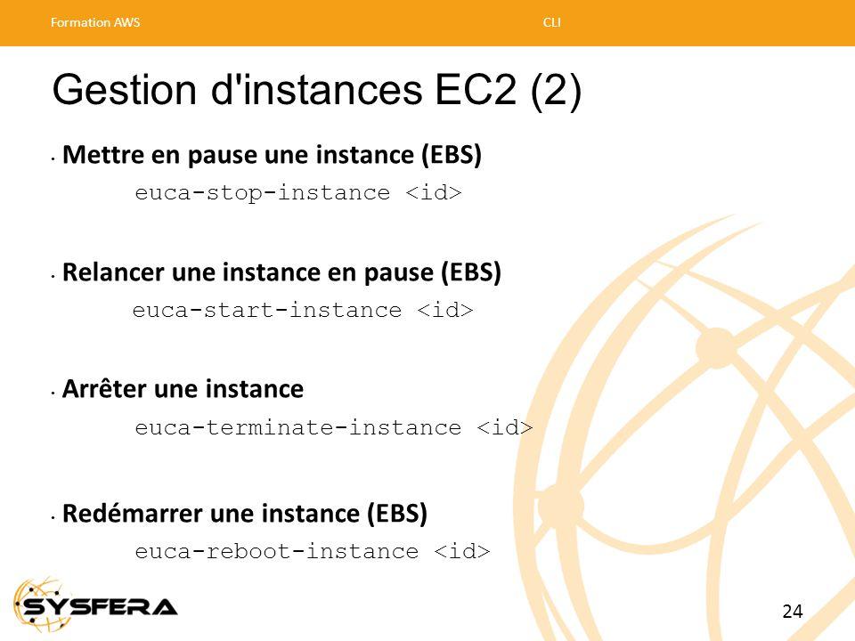 Gestion d'instances EC2 (2) • Mettre en pause une instance (EBS) euca-stop-instance • Relancer une instance en pause (EBS) euca-start-instance • Arrêt