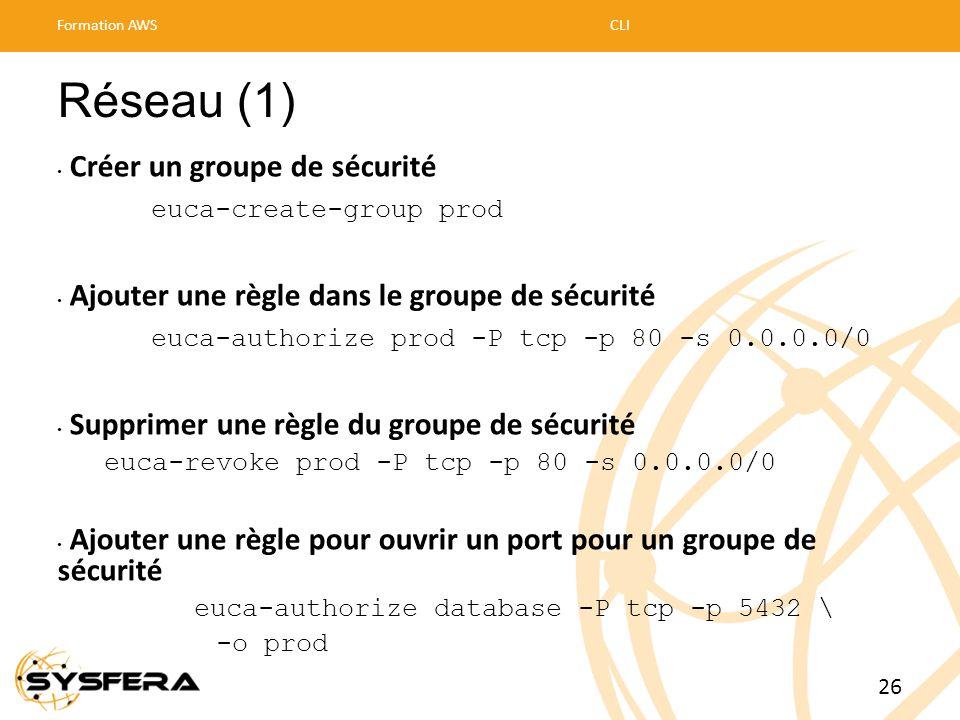 Réseau (1) • Créer un groupe de sécurité euca-create-group prod • Ajouter une règle dans le groupe de sécurité euca-authorize prod -P tcp -p 80 -s 0.0