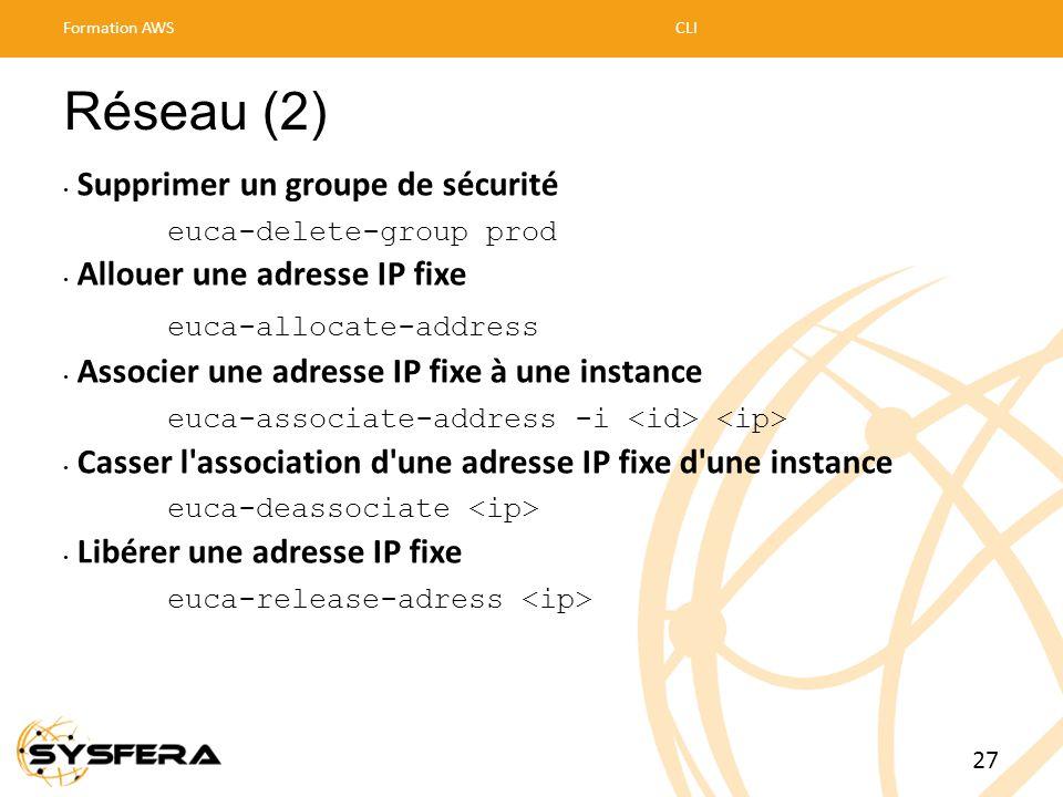 Réseau (2) • Supprimer un groupe de sécurité euca-delete-group prod • Allouer une adresse IP fixe euca-allocate-address • Associer une adresse IP fixe