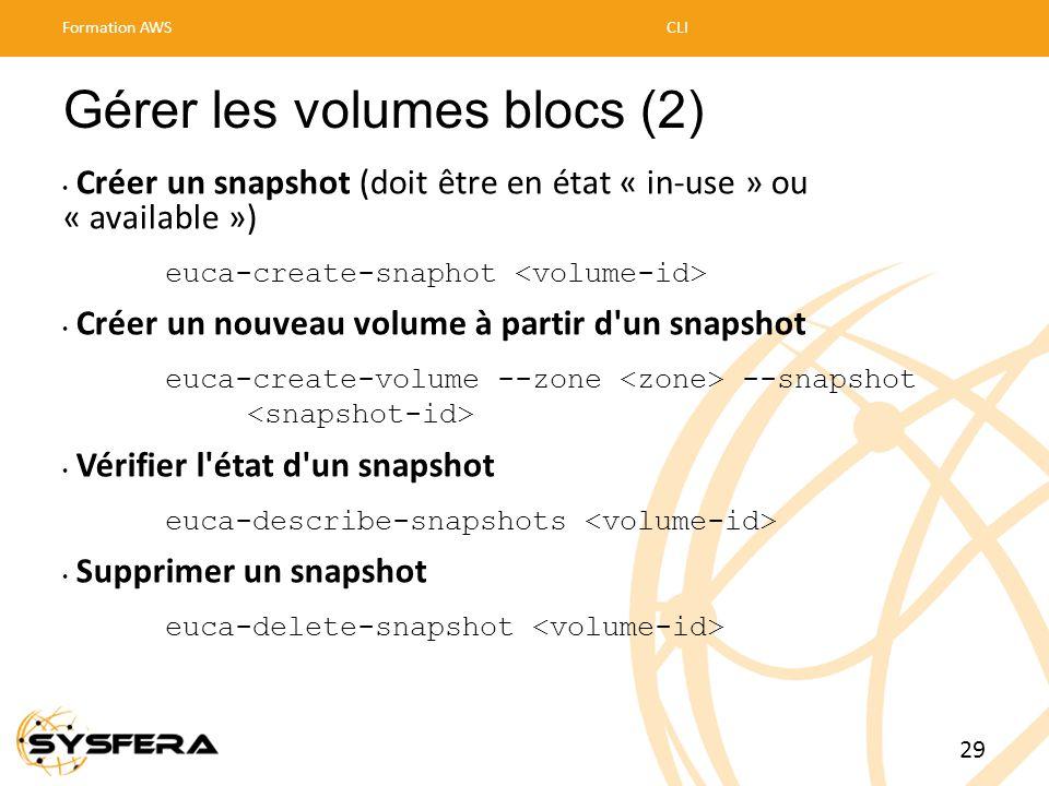 Gérer les volumes blocs (2) • Créer un snapshot (doit être en état « in-use » ou « available ») euca-create-snaphot • Créer un nouveau volume à partir