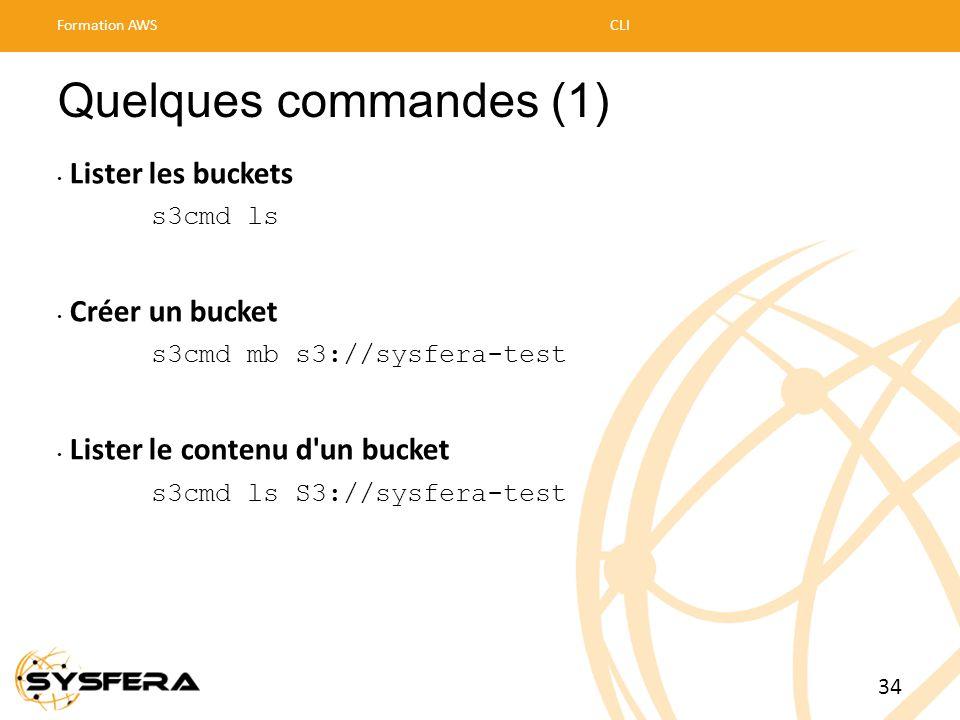 Quelques commandes (1) • Lister les buckets s3cmd ls • Créer un bucket s3cmd mb s3://sysfera-test • Lister le contenu d'un bucket s3cmd ls S3://sysfer
