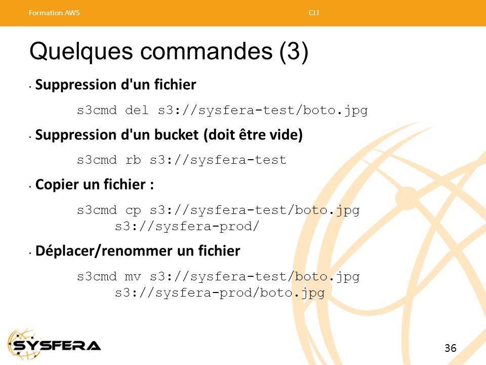 Quelques commandes (3) • Suppression d'un fichier s3cmd del s3://sysfera-test/boto.jpg • Suppression d'un bucket (doit être vide) s3cmd rb s3://sysfer