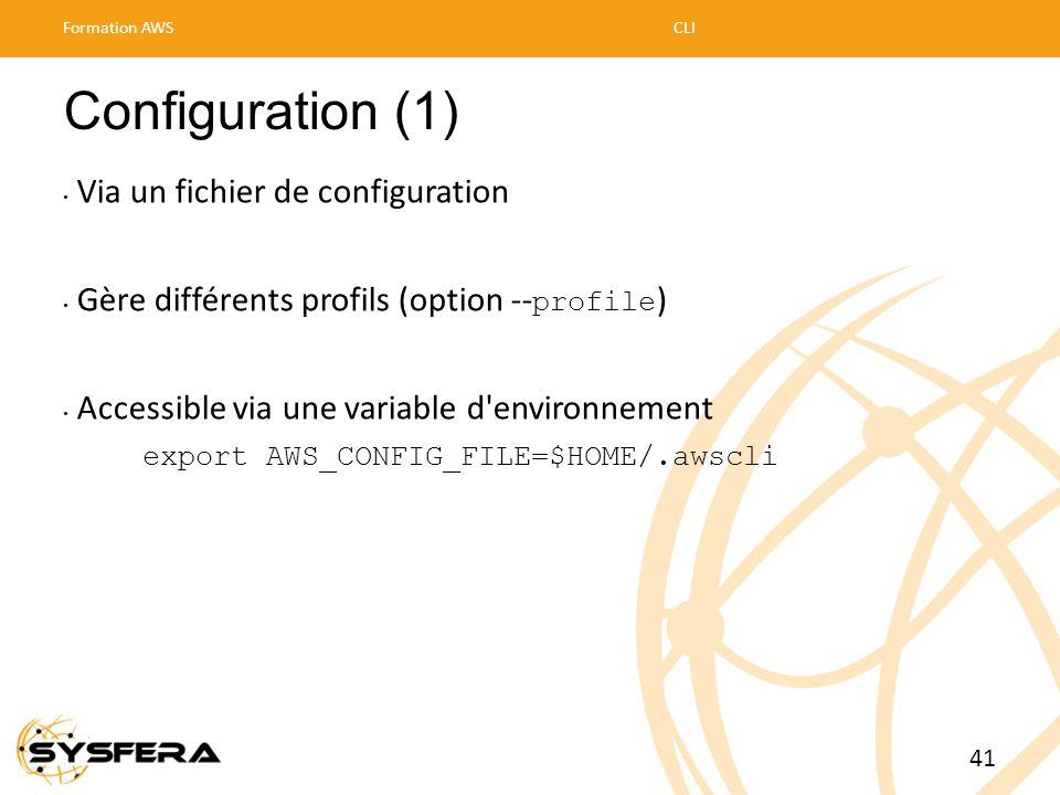 Configuration (1) • Via un fichier de configuration • Gère différents profils (option -- profile ) • Accessible via une variable d'environnement expor