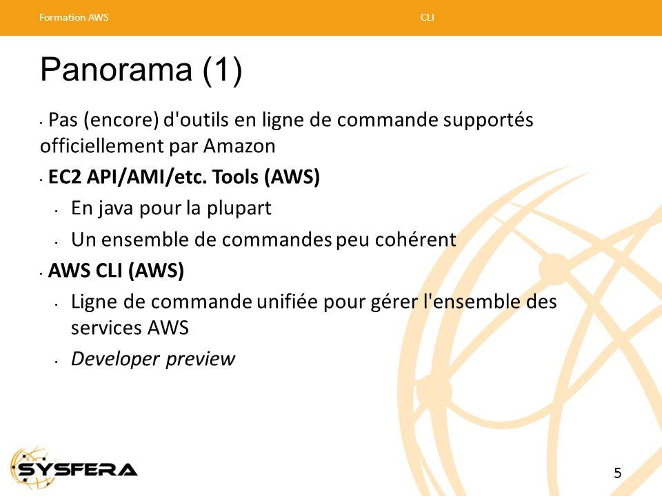 Panorama (1) • Pas (encore) d'outils en ligne de commande supportés officiellement par Amazon • EC2 API/AMI/etc. Tools (AWS) • En java pour la plupart