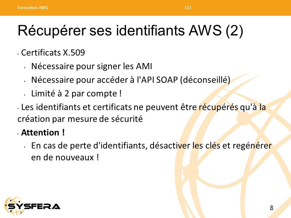Récupérer ses identifiants AWS (2) • Certificats X.509 • Nécessaire pour signer les AMI • Nécessaire pour accéder à l'API SOAP (déconseillé) • Limité