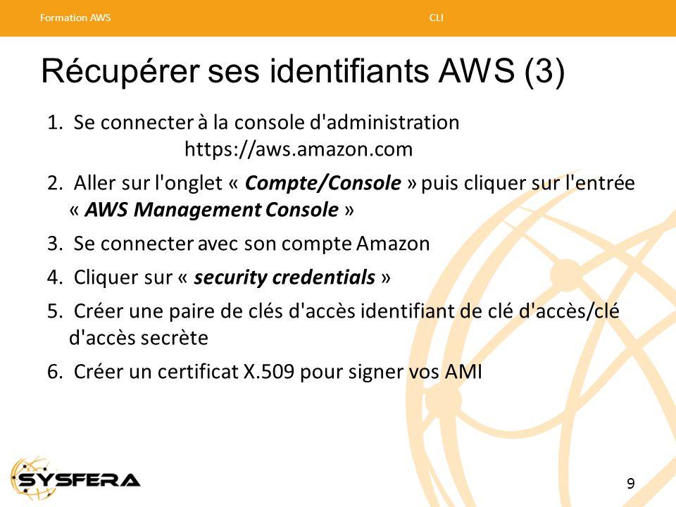 Récupérer ses identifiants AWS (3) 1. Se connecter à la console d'administration https://aws.amazon.com 2. Aller sur l'onglet « Compte/Console » puis