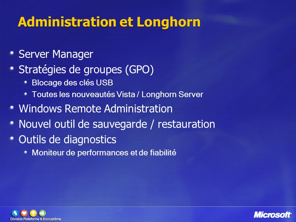 Administration et Longhorn Server Manager Stratégies de groupes (GPO) Blocage des clés USB Toutes les nouveautés Vista / Longhorn Server Windows Remot