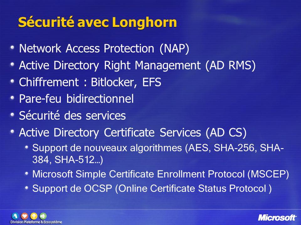 Sécurité avec Longhorn Network Access Protection (NAP) Active Directory Right Management (AD RMS) Chiffrement : Bitlocker, EFS Pare-feu bidirectionnel