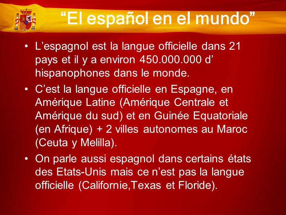 """""""El español en el mundo"""" •L'espagnol est la langue officielle dans 21 pays et il y a environ 450.000.000 d' hispanophones dans le monde. •C'est la lan"""