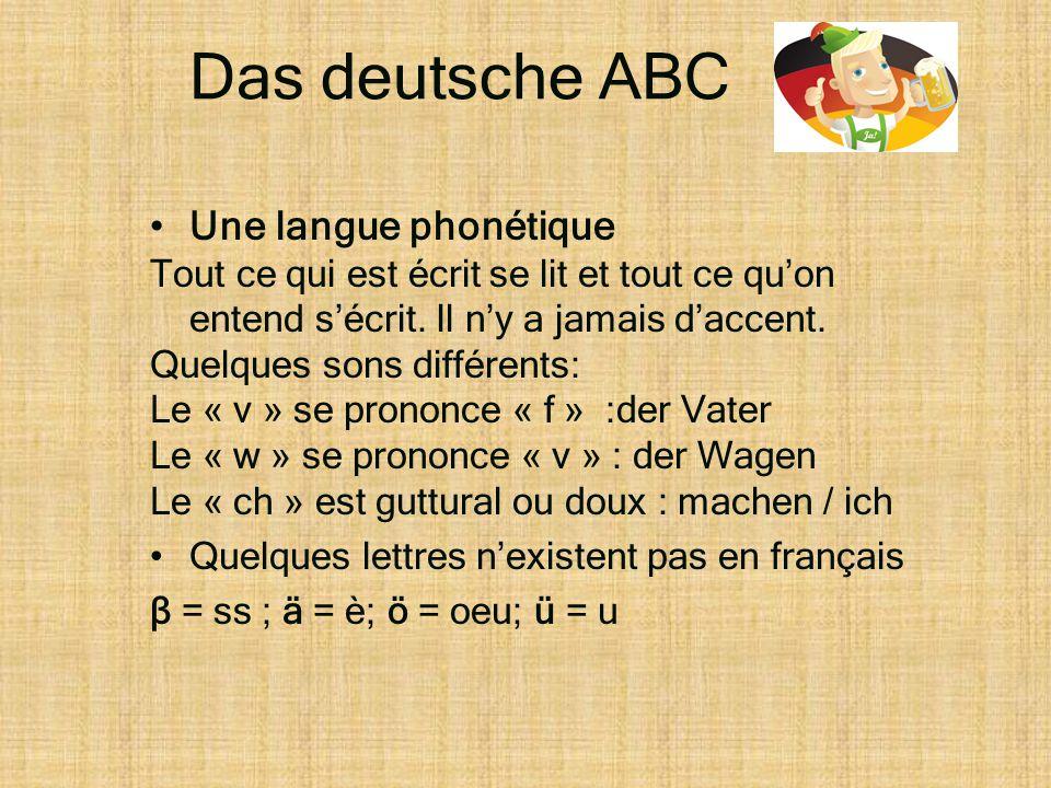 Das deutsche ABC •Une langue phonétique Tout ce qui est écrit se lit et tout ce qu'on entend s'écrit. Il n'y a jamais d'accent. Quelques sons différen