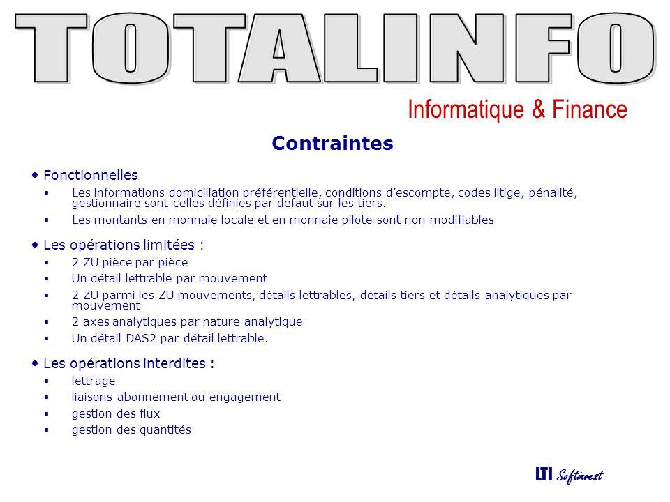 Informatique & Finance LTI Softinvest Contraintes • Fonctionnelles  Les informations domiciliation préférentielle, conditions d'escompte, codes litig