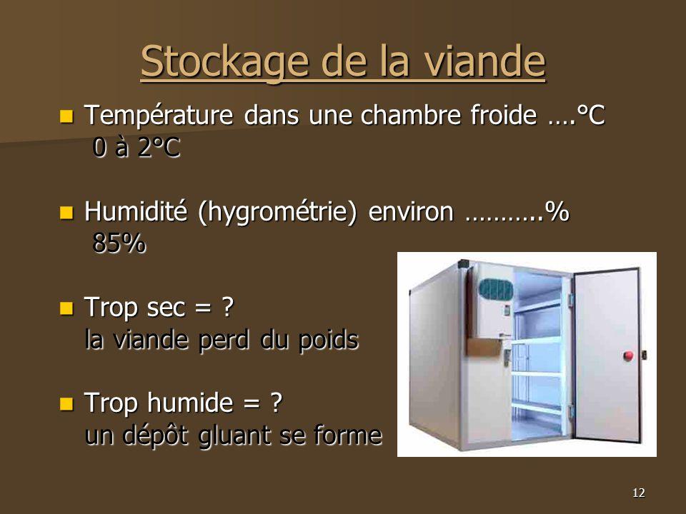 12 Stockage de la viande  Température dans une chambre froide ….°C 0 à 2°C 0 à 2°C  Humidité (hygrométrie) environ ………..% 85% 85%  Trop sec = ? la