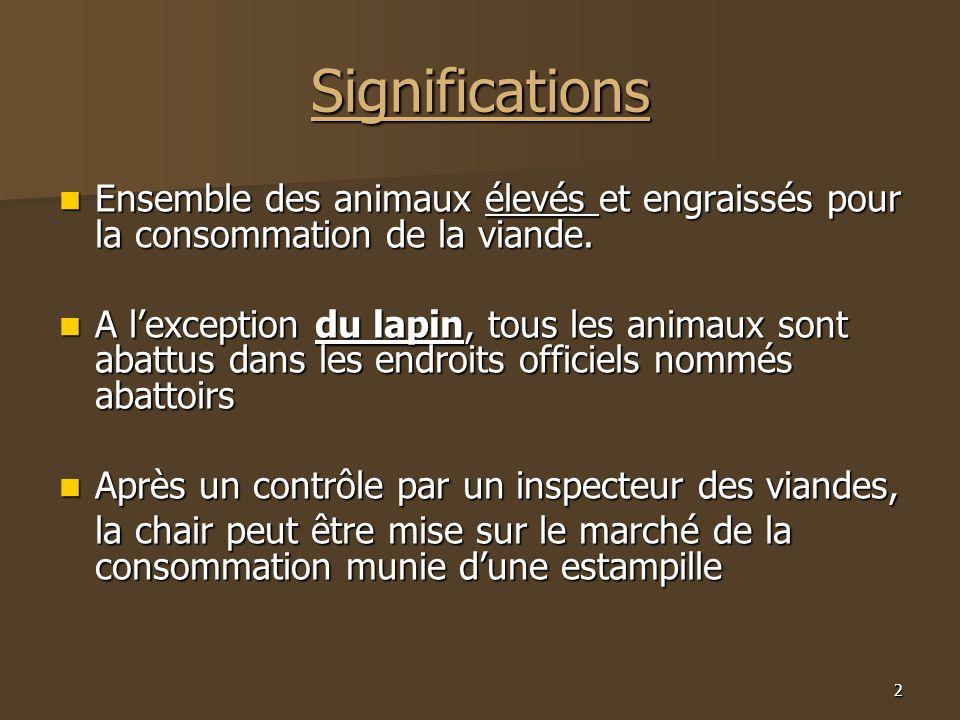 2 Significations  Ensemble des animaux élevés et engraissés pour la consommation de la viande.  A l'exception du lapin, tous les animaux sont abattu