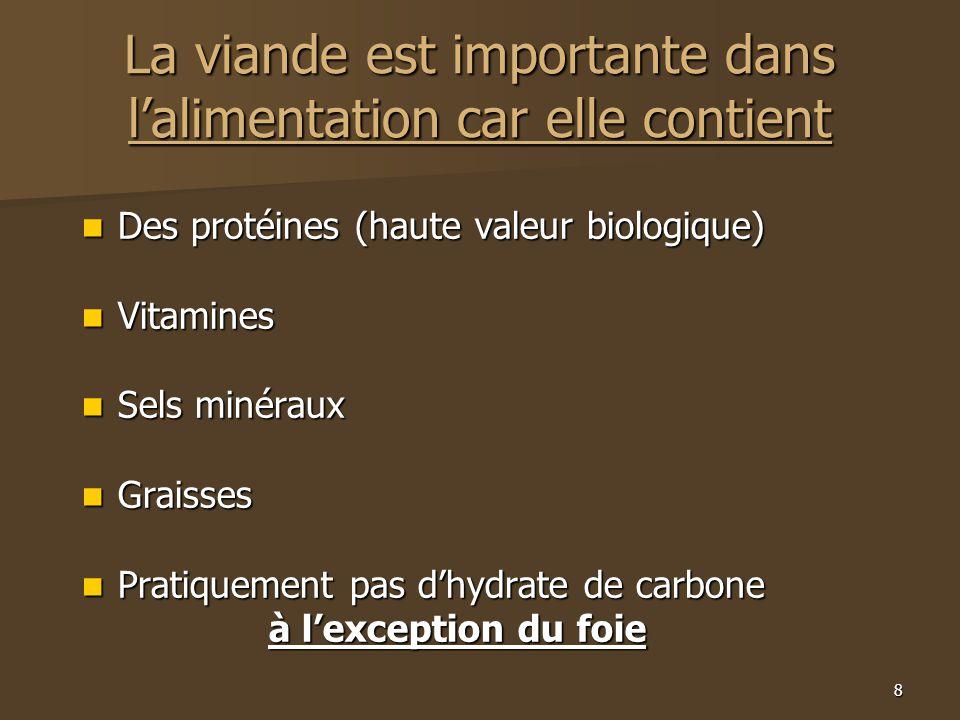 8 La viande est importante dans l'alimentation car elle contient  Des protéines (haute valeur biologique)  Vitamines  Sels minéraux  Graisses  Pr