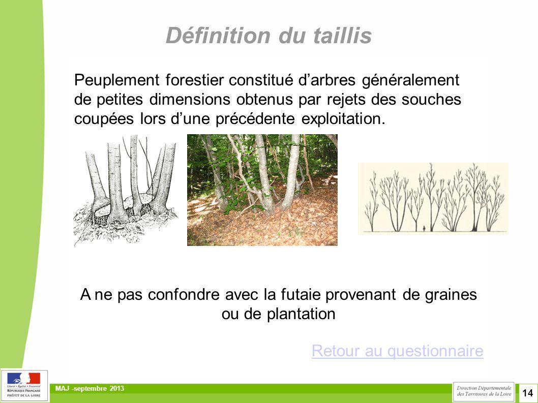 14 MAJ -septembre 2013 Définition du taillis Peuplement forestier constitué d'arbres généralement de petites dimensions obtenus par rejets des souches
