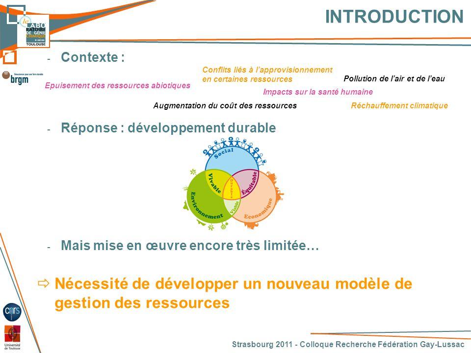 SOMMAIRE Strasbourg 2011 - Colloque Recherche Fédération Gay-Lussac - Objectifs de l'étude - Méthodologie - Application au cas du cuivre en France - Résultats - Conclusions