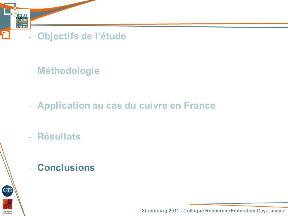 Strasbourg 2011 - Colloque Recherche Fédération Gay-Lussac 30 CONCLUSION - Intérêts du MFA dynamique à l'échelle d'un pays • Mise en évidence des tendances d'évolution de gestion d'une ressource • Mise en évidence des principales filières d'utilisation  ACV • Possibilité d'élaboration de scénarios d'évolutions - Nécessité de retravailler sur les TES • Expliquer les écarts avec la MFA • Essayer de diminuer ces écarts pour pouvoir : •Utiliser les tableaux économiques •Réitérer rapidement la méthodologie pour une autre substance - Perspectives • Mise en œuvre des autres étapes de la méthodologie sur la cas du cuivre (ACV, Analyse Economique, Optimisation multi-objectif) • Validation et généralisation de la méthodologie