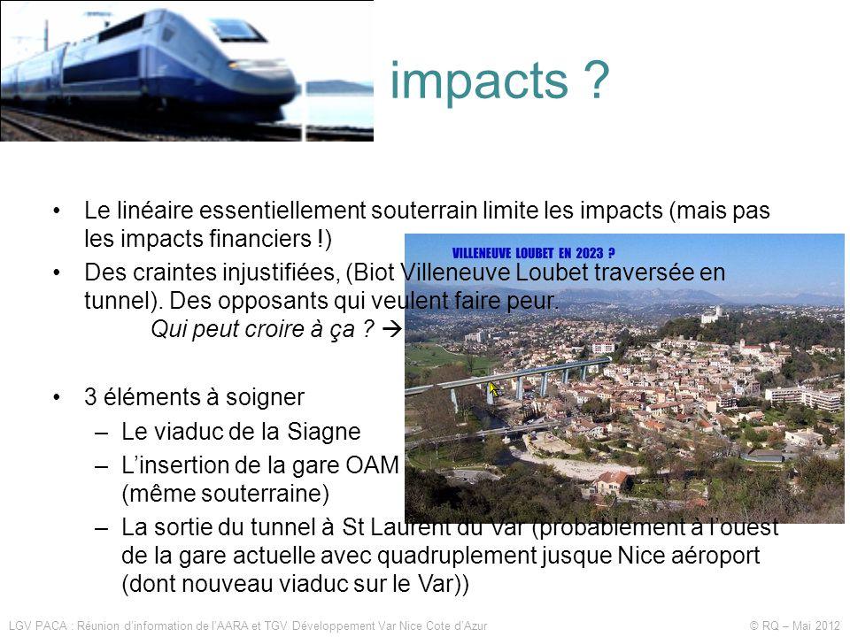 Quels impacts ? LGV PACA : Réunion d'information de l'AARA et TGV Développement Var Nice Cote d'Azur © RQ – Mai 2012 •Le linéaire essentiellement sout