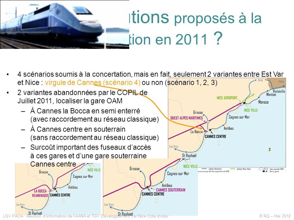 Quelles solutions proposés à la concertation en 2011 ? •4 scénarios soumis à la concertation, mais en fait, seulement 2 variantes entre Est Var et Nic